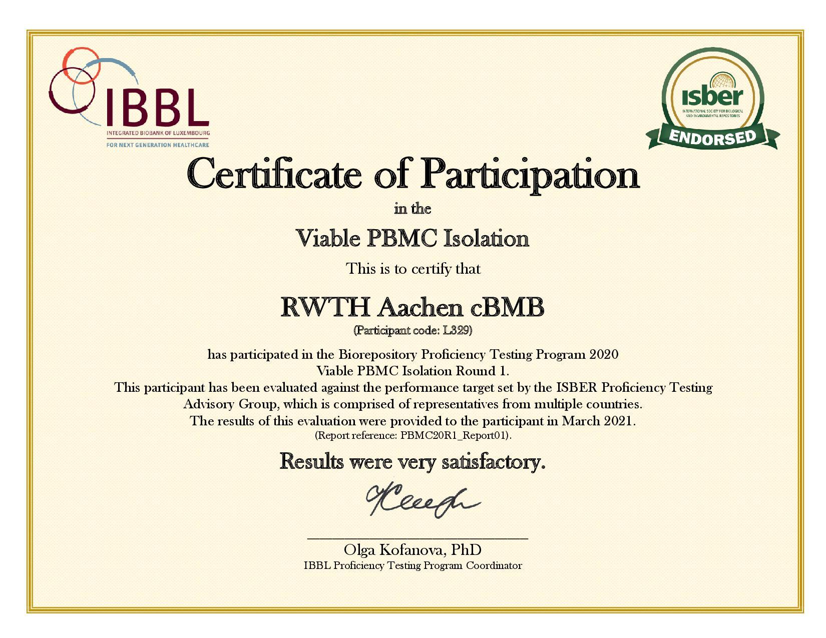 PBMC20R1 - L329 - Certificate